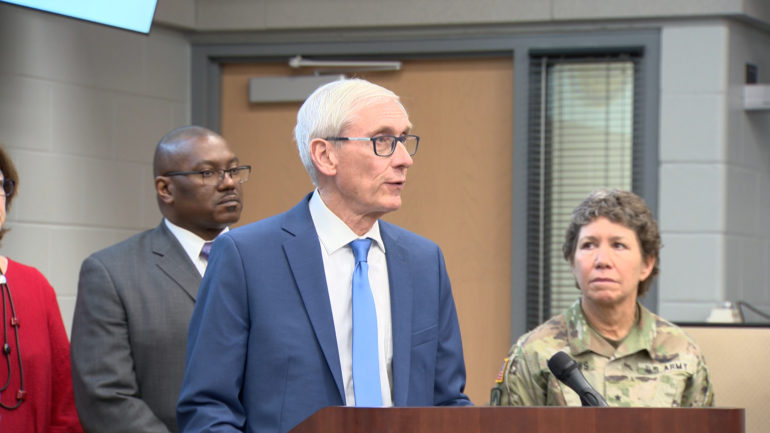 Gov. Tony Evers provides an update on the state response to novel coronavirus on March 12, 2020.