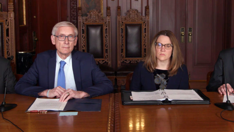 Gov. Tony Evers and DHS Sec.-des. Andrea Palm provide a March 16, 2020 update on the state's COVID-19 response. (Courtesty: Dept. of Health Serv.)