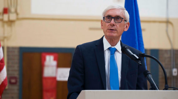 Gov. Tony Evers speaks to students at Winnequah School in Monona, Wis., during an event to kick off the Student Tools for Emergency Planning (STEP) program for this school year. (Courtesy: Sgt. Alex Baum / Wisconsin Department of Military Affairs)