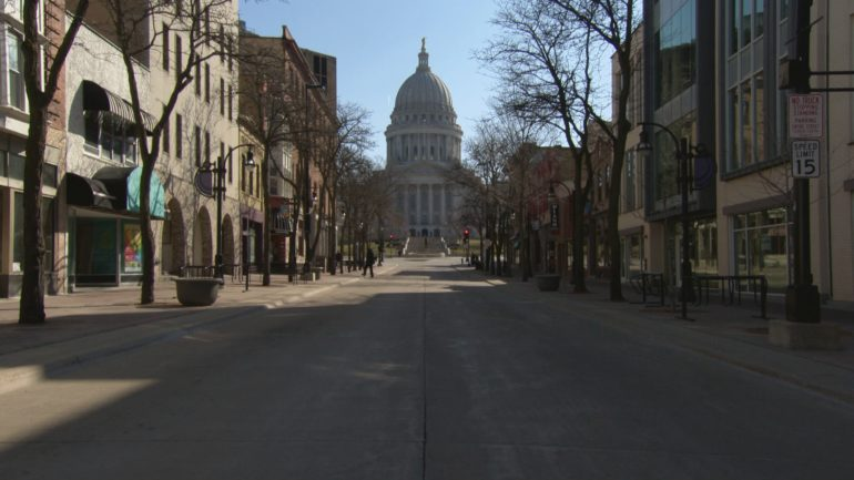 Madison's downtown State Street lays vacant under coronavirus social distancing.