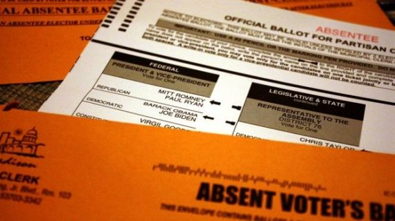 An absentee ballot from the 2012 presidential election. (Courtesy: Michael Leland / WPR)