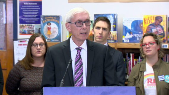 Gov. Tony Evers speaks a Lincoln Elementary in Wauwatosa Feb. 26, 2020.