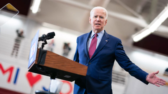 Democratic presidential candidate Joe Biden during a March 9, 2020 campaign event in Detroit, Michigan. (Courtesy: Adam Schultz / Biden for President)