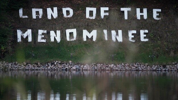 Display in Menominee County showing Land of the Menominee.